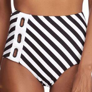 Jets Liberate High Waist Swim Bikini Bottoms J3685 Black/White