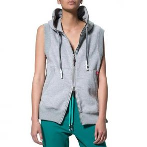 LEVEL Blaize Unisex Sleeveless Hoodie L1718 Grey Marle