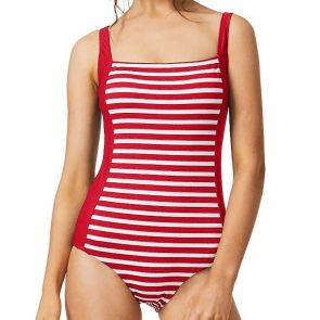 Moontide Above Board Square Neck Swim One Piece M4671AB Red