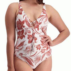 Moontide Vintage Bloom Plunge Swim Suit M4828VB Brick