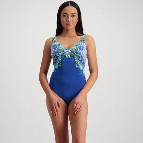 Moontide Bohemian Aesthetic Underwire V-Neck Swim Suit M4485BA Blue