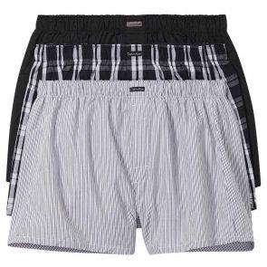 Calvin Klein Cotton Classics 3 Pack Woven Boxers NB4006 Black/Black Plaid/Black Stripe