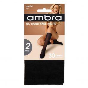 Ambra No Band Knee High 2-Pack NOB2PKH Black