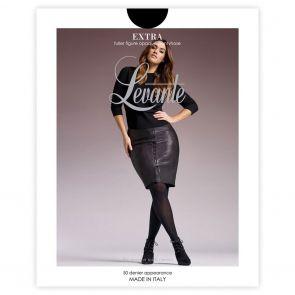 Levante 'Extra' Fuller Figure Collection Extra Bella Opaque Pantyhose OPAEXPH Nero