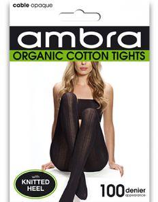Ambra Organic Cotton Cable Rib Tights ORGCCRT Black