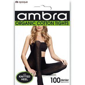 Ambra Organic Cotton Rib Tights AORGCRT Black