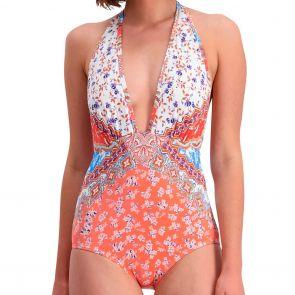 Piha Daisy Deep V Halter Swim Suit P4786DY Multi