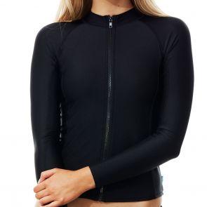 Piha Solid Separates Long Sleeve Swim Rashgaurd P5002SS Black