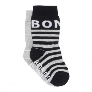 Bonds Baby Pattern Crew 2-Pack R6503N Black and Grey