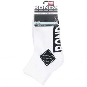 Bonds Kids Stamp Logo 1/4 Sock 3-Pack RY9V3N White