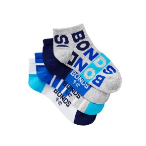 Bonds Boys Fashion Trainer Socks 4-Pack RZLY4N Blue/Grey/White