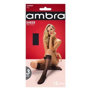 Ambra Sheer Knee High 3-Pack SHE3PKH Black