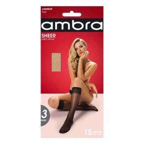 Ambra Sheer Knee High 3-Pack SHE3PKH Natural