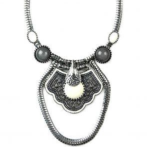 Sistaco Musk-Silver Cream Grey Drop Necklace 931 E41 EY Silver