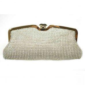 Ivys Star Mesh & Diamonte Evening Bag B555 Silver