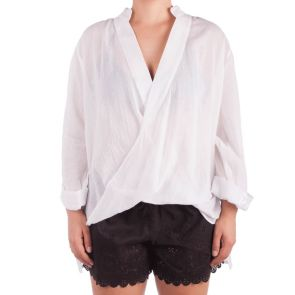 Sunseeker Apparel Wrap Front Beach Shirt White SS91069