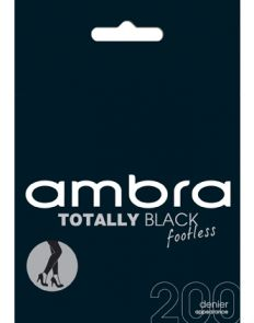 Ambra 200D Totally Black Footless Tights ATOBLFTLS Black
