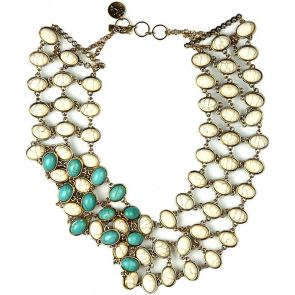 Sistaco Twice Me Double Sided Stone Necklace 1053CT UE20 EY Turquoise/Cream