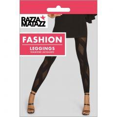 Razzamatazz Diamond Jacquard Leggings H80099 Black Womens Hosiery