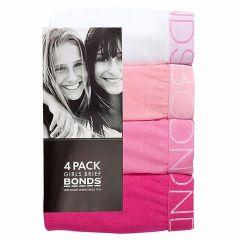 Bonds Multipack Plain Bikinis 4 Packs UZR14T Assorted Girls Underwear
