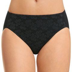 Jockey No Ride Up Lace Hi-Cut Brief WWLN Black Womens Underwear