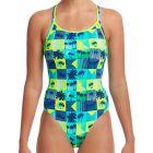 Funkita Ladies Diamond Back Swim One Piece FS11L Pop Tropo Womens Swimwear