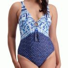 Moontide Pop Indigo Plunge Swim Suit M4828PO Tie Dye Womens Swimsuit