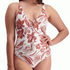 Moontide Vintage Bloom Plunge Swim Suit M4828VB Brick Womens Swimsuit