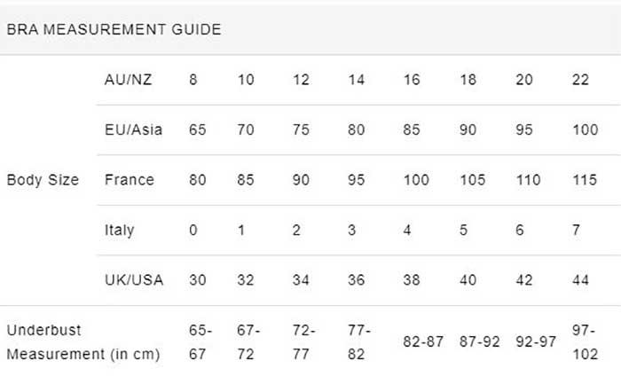 HK Intimates Bra Size Chart