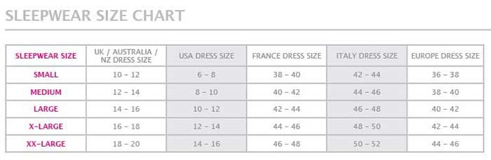 Hotmilk Sleepwear Size Chart