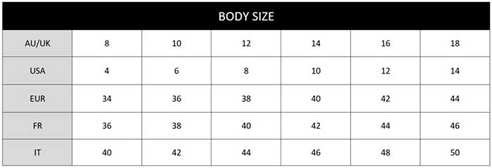 Jets Body Sizechart