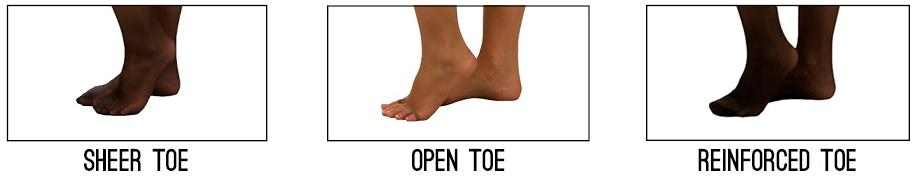 Sheer Toe, Open Toe & Reinforced Toe
